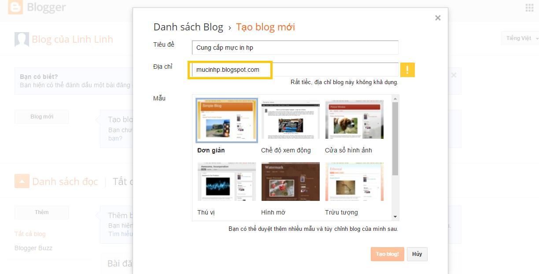 Hướng dẫn tạo blogspot hoàn toàn miễn phí