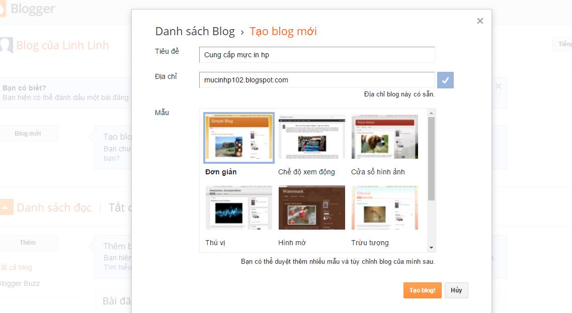 Mình sẽ Hướng dẫn tạo blogspot đơn giản